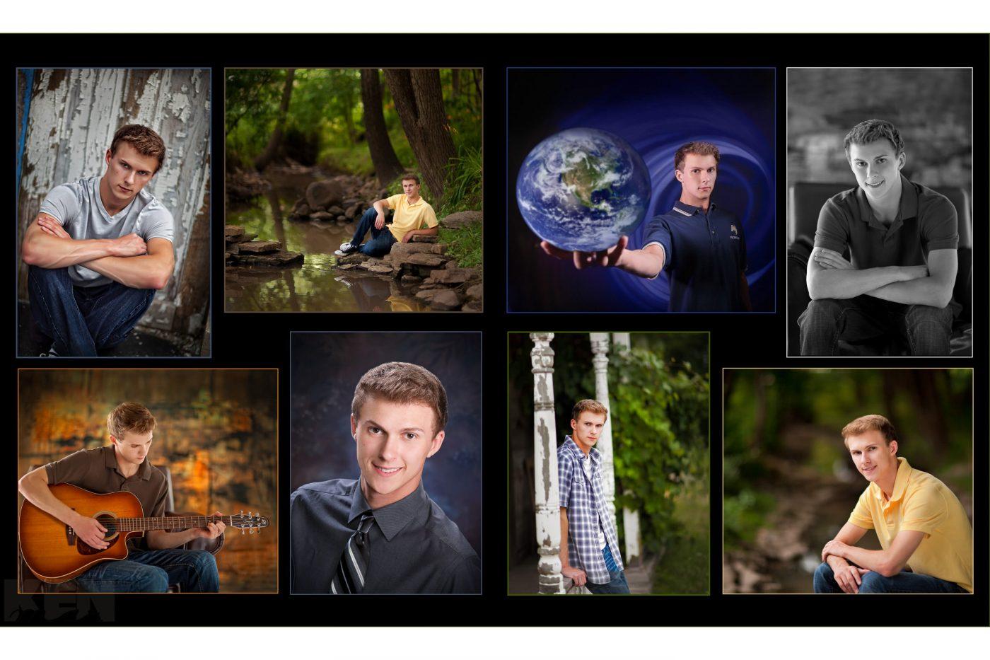 High school senior boy folio of 8 images Senior Graduation Picture