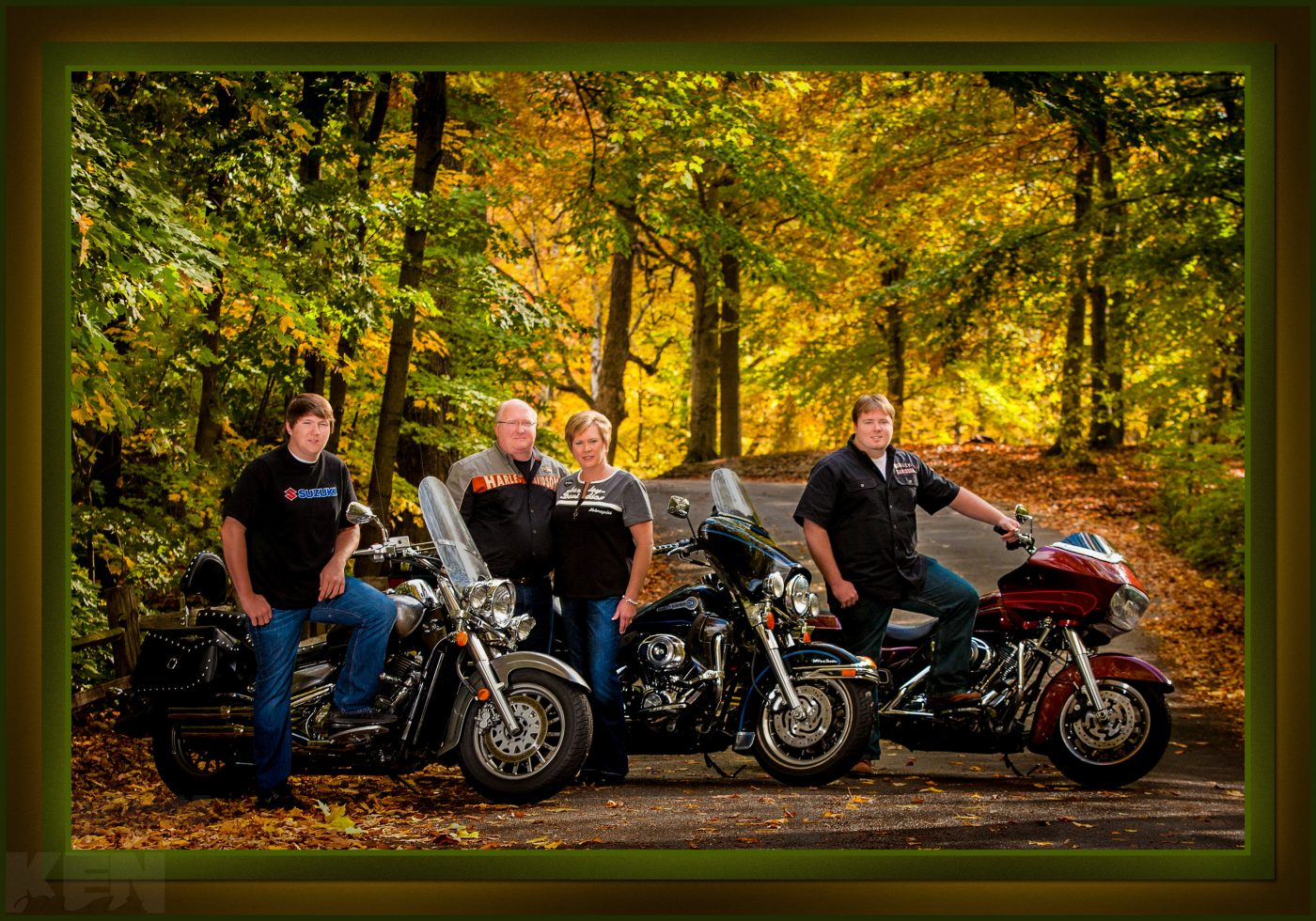 Family on Harley motorcycles in Fall colors